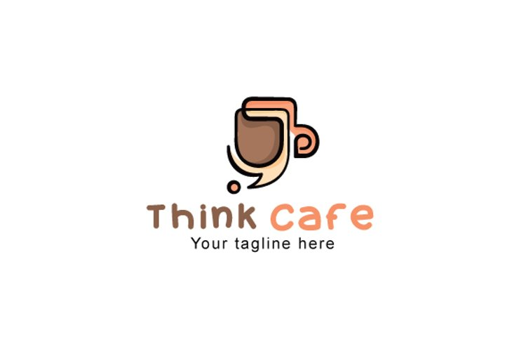 Think Cafe - Creative Coffee Shop Stock Logo Template example image 1
