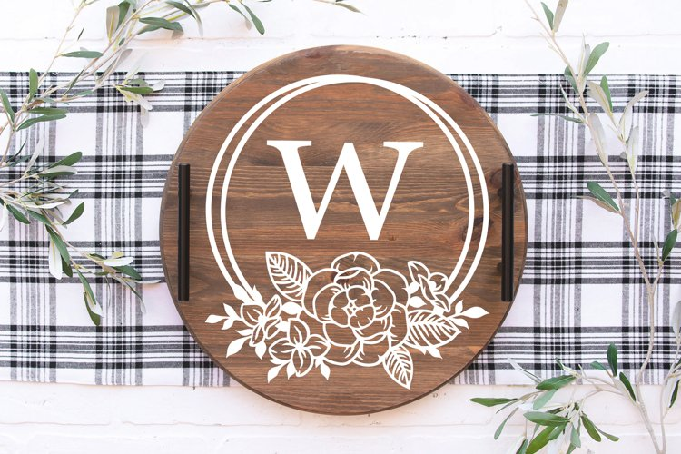 Wedding Floral frames Cricut SVG cut file, Flower monogram example 2