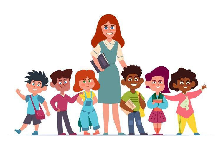 Teacher with children. Happy multiethnic girls and boys scho example image 1