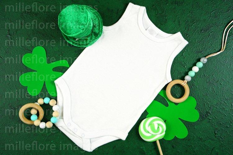 St Patricks Day Baby Bodysuit SVG Craft Mockup Styled Photo
