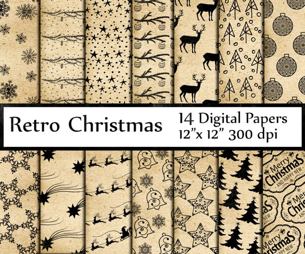 Retro Christmas digital papers example image 1
