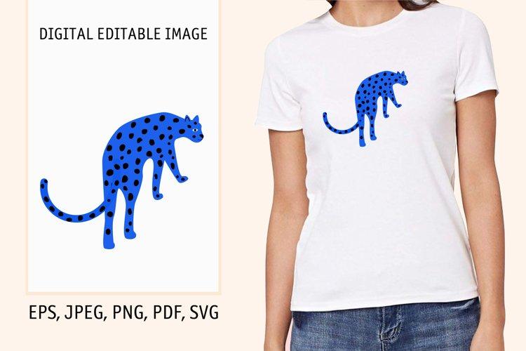 Cartoon funny leopard cat portrait. Digital editable image example image 1