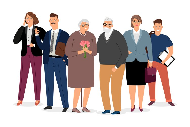 Elderly couple surrounded by family vector illustration