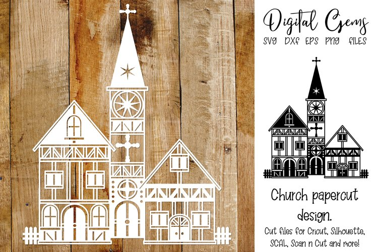 Church paper cut design SVG / DXF / EPS / PNG files