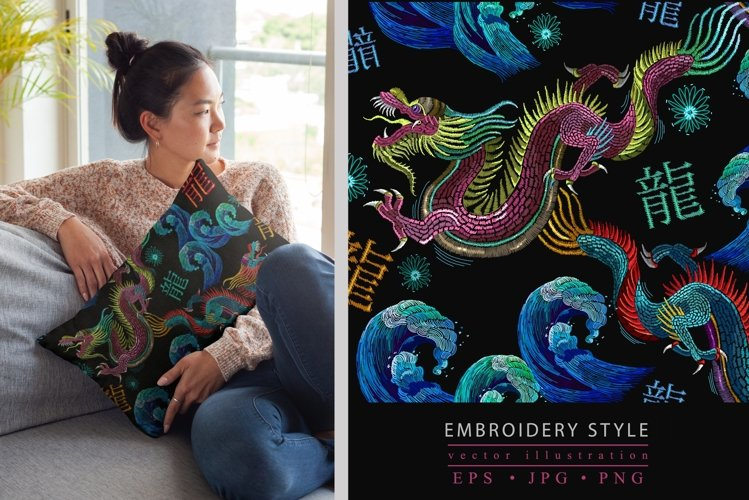 Embroidery style asian dragons and sea