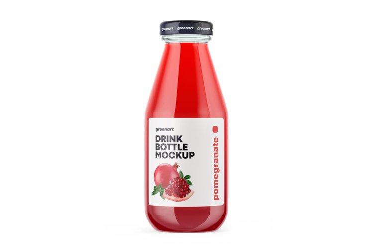 Clear Glass Pomegranate Juice Bottle Mockup