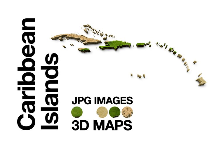 Caribbean-Islands 3D Maps Images Dry Earth Sand Grass example image 1