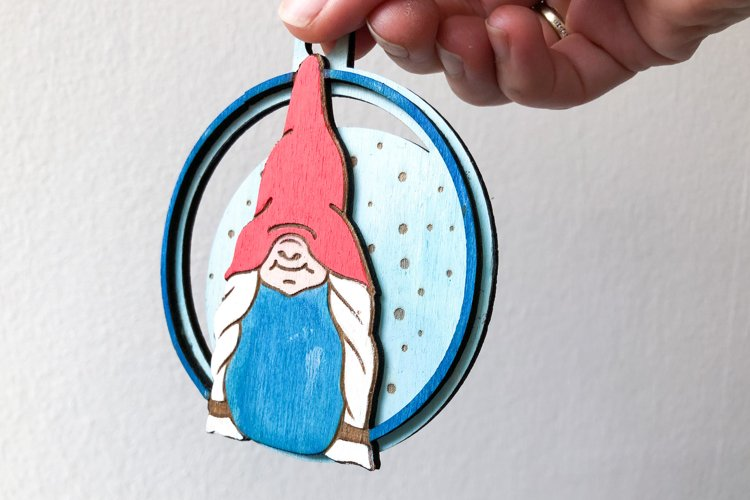 Christmas Gnome Ornament Laser Cut Files example 3
