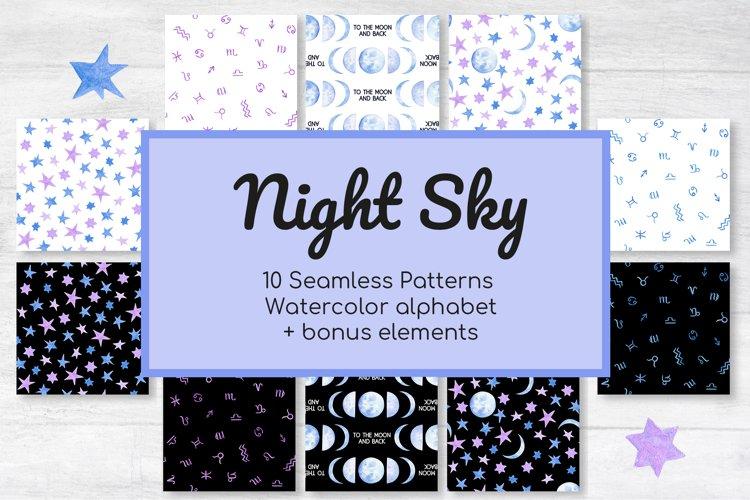 Night Sky Celestial Seamless Digital Papers and Alphabet
