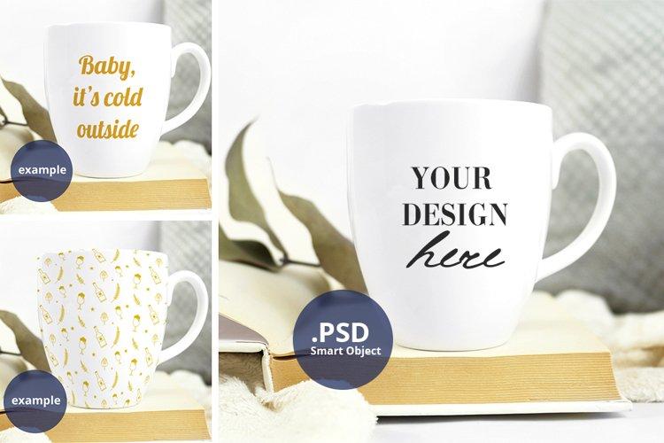 Neutral background Bistro mug mockup PSD, full wrap mockup example image 1