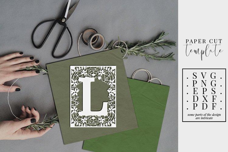 Floral frame letter L, single initial paper cut, wedding SVG