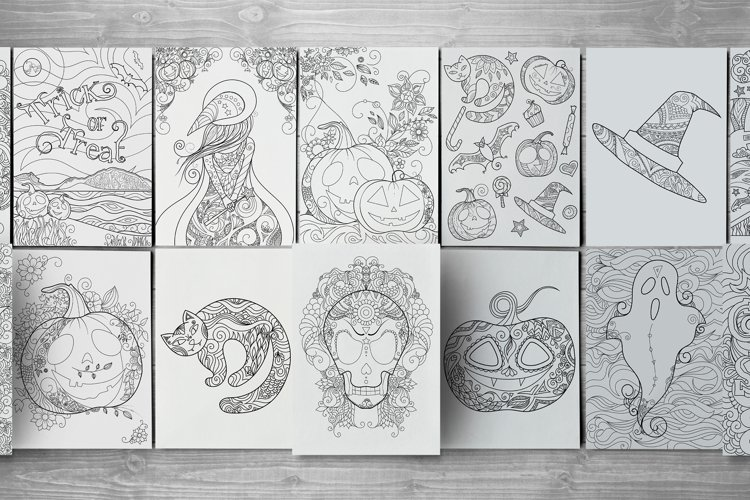 31 zentangle Halloween activity pages, mazes and colorings