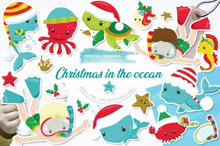 Christmas underwater graphics and illustrations