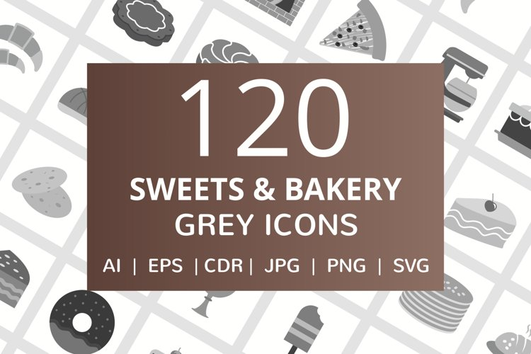 120 Sweets & Bakery Flat Greyscale Icons example image 1