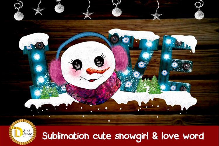 Sublimation christmas cute snowman with love marquee letter example image 1