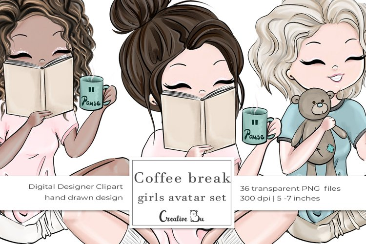 Coffee Break, Girls - Clipart example image 1
