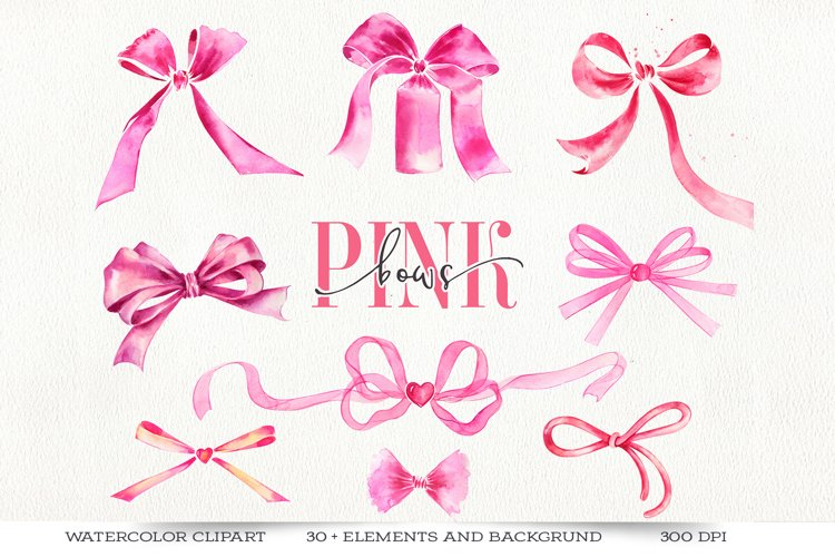 Pink watercolor bows clipart.