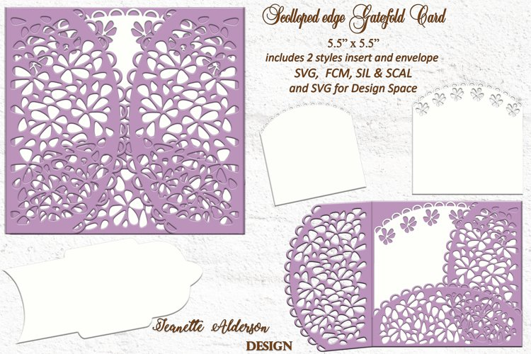 Scolloped edge gatefold SVG card cutting file any occasion example image 1