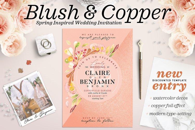 Blush Copper Wedding Invite I example image 1