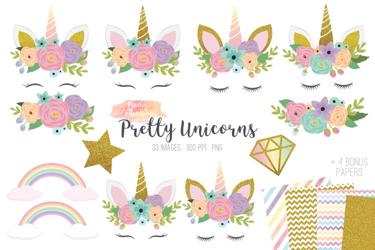 Pretty Unicorns Clipart Vector PNG example image 1
