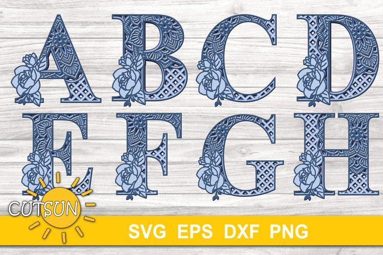 3D Layered Mandala Alphabet SVG Bundle 26 letters 5 layers