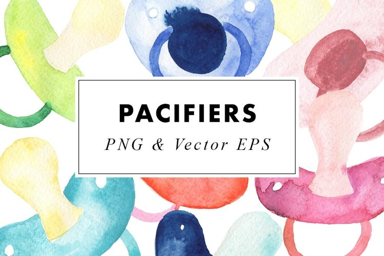 Watercolor Pacifiers ClipArt Baby Paintings in PNG   Vector