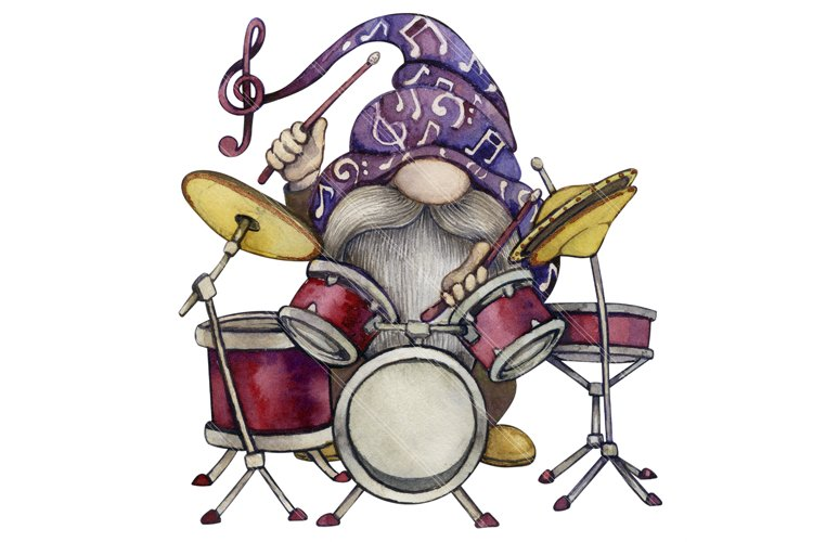 Watercolor Gnome png, Music Sublimation, Drum set example image 1