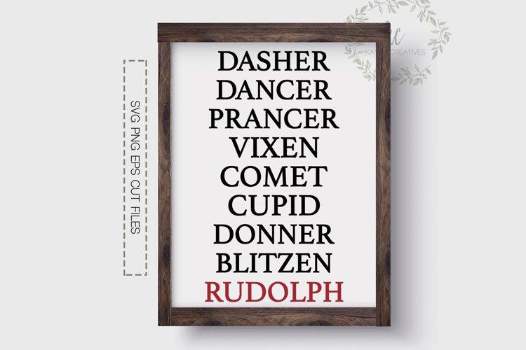 Reindeer Names SVG, Rudolph SVG, Christmas Cut File, Cricut example image 1