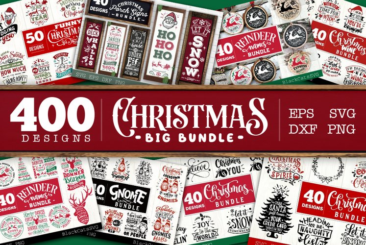 Christmas BIG Bundle SVG bundle 400 designs example image 1