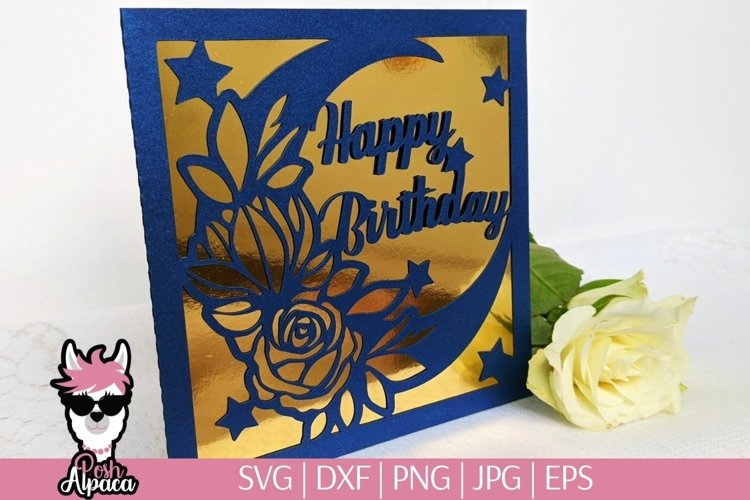 Birthday card SVG for kids, 1st birthday card cut file example image 1
