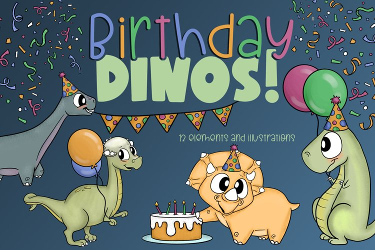Birthday Dinos | Birthday Illustrations| Birthday Elements