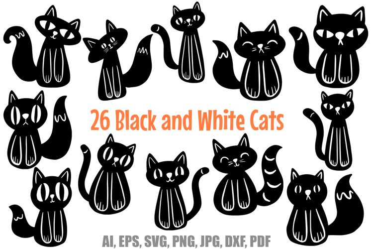 26 Cute Black and White Halloween Kitten Cat Illustrations example image 1