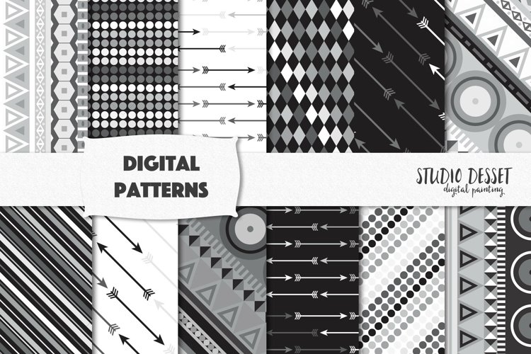 Black and White Patterns   Geometry Digital Papers