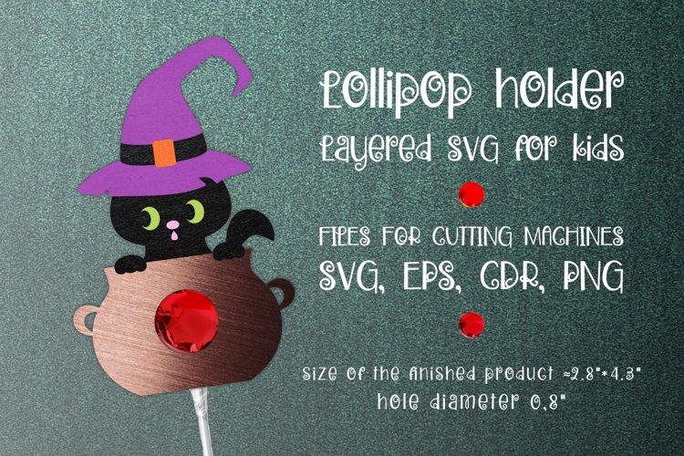 Black Cat Lollipop Holder Template SVG