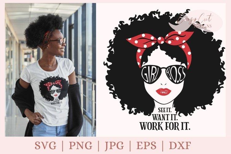 Afro Girl Svg, black woman svg, Girl Boss svg