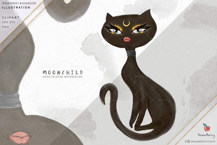 Black Cat illustration Clipart Moon Child | Drawberry i008 example image 1
