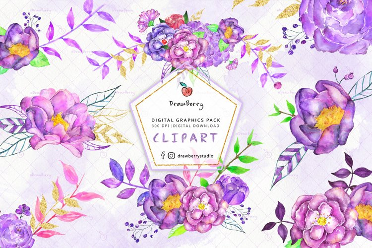 Purple Flowers Watercolor Clipart| Drawberry CP061 example image 1