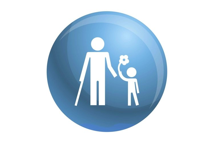 Kid with flower icon, simple style example image 1