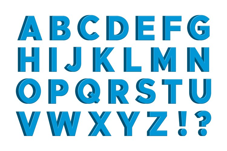 Blue 3D English Letters with Signs