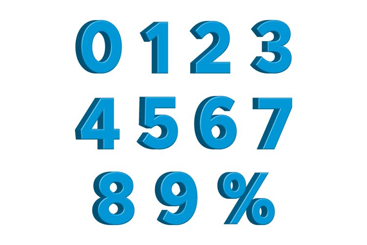 Blue 3D Numbers with Percent Sign