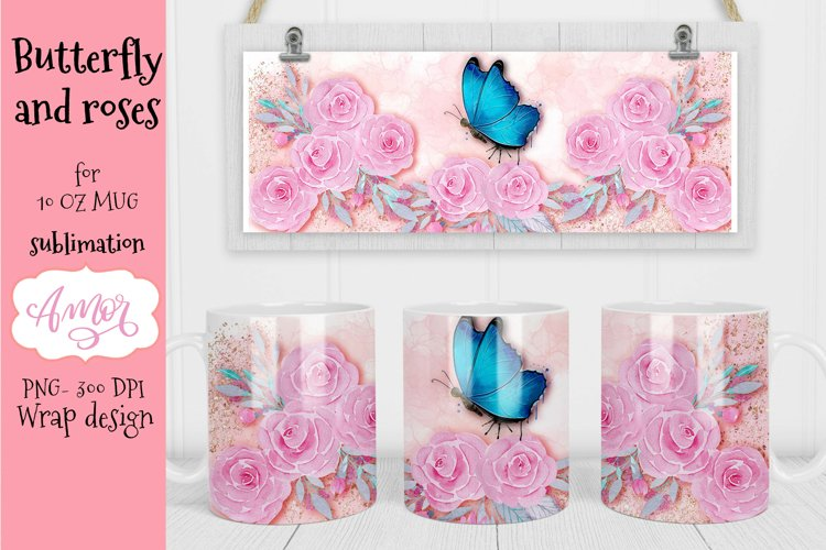 Blue Butterfly design for 11oz mug sublimation with roses