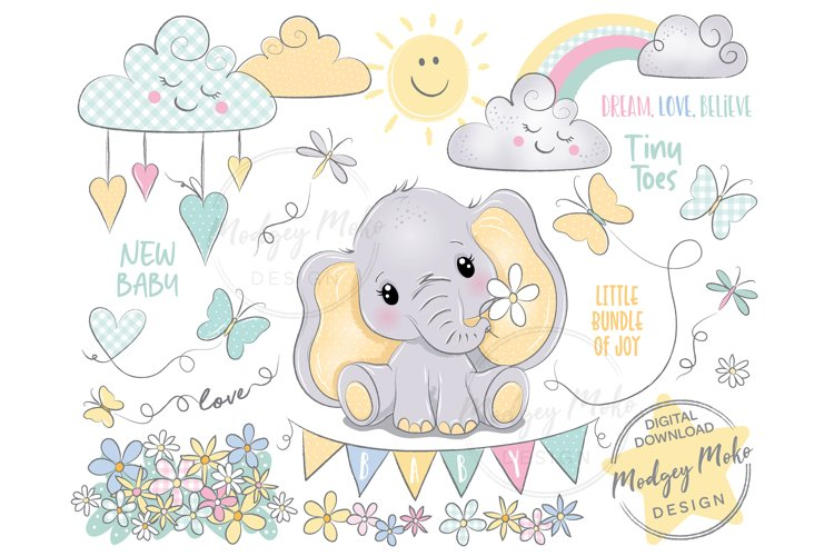 Baby Elephant holding flowers with butterfly CLIPART