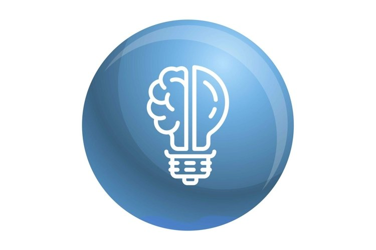 Brain bulb icon, outline style example image 1
