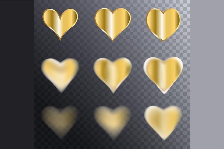 Set of Vector Golden Hearts on Transparent Background