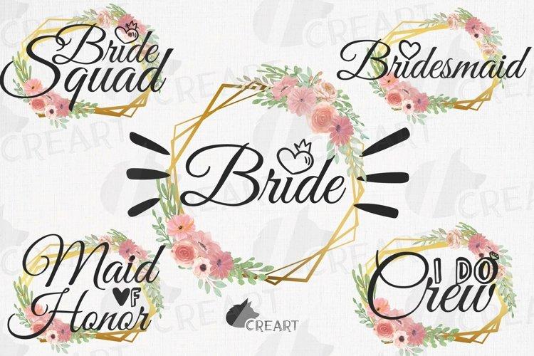 Bridal shower Hen Party clip art blush floral golden frames.