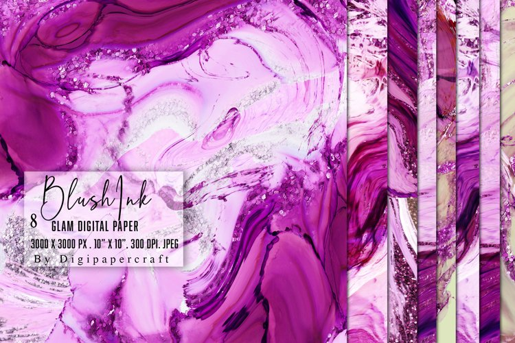 Blush Pink Digital Paper, Glam Alcohol Ink textures example image 1