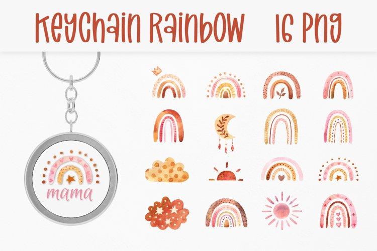 Boho Rainbow Keychain. Rainbow PNG Design Round Key Keychain