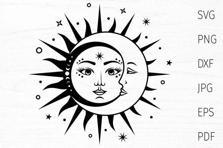 Sun and moon, celestial svg, sun svg, boho svg, mystical cut