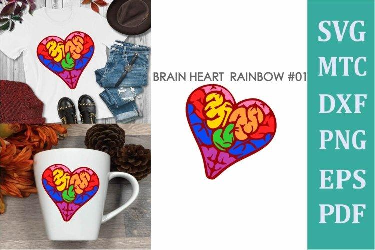Brain Heart Rainbow # 01 Awareness Neurodiversity SVG Cut