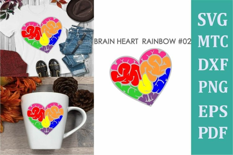 Brain Heart Rainbow # 02 Awareness Neurodiversity SVG Cut Fi